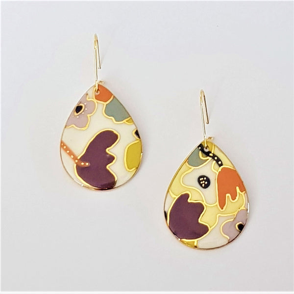 Porcelain teardrop earrings with floral abstract in purples and yellows with gold detailing