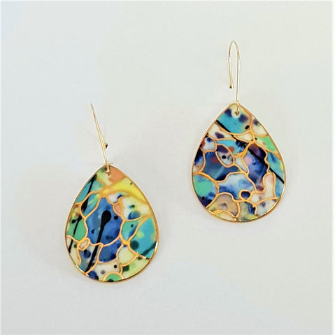 Multi-coloured porcelain drop earrings with gold highlights