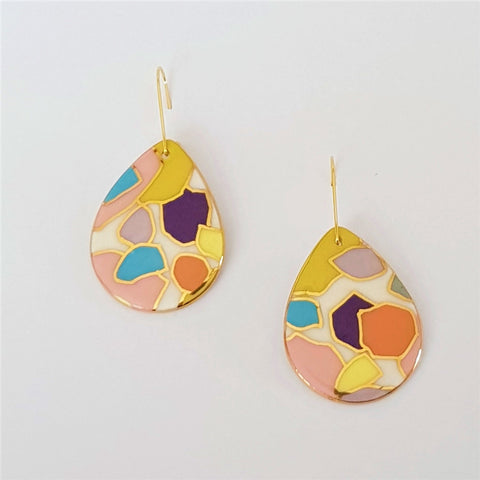 Drop style earrings in pastel geometric pattern with gold