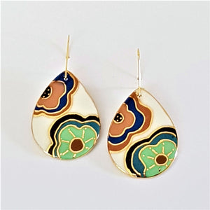 Retro floral porcelain drop earrings with gold linework