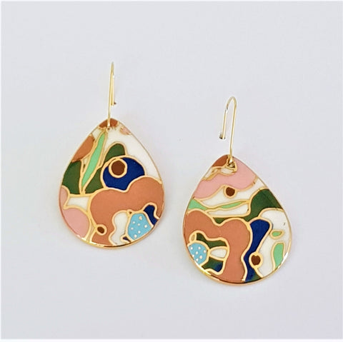 porcelain drop earrings in floral design in soft colours and gold