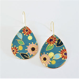 Teal porcelain drop earrings with floral pattern and gold