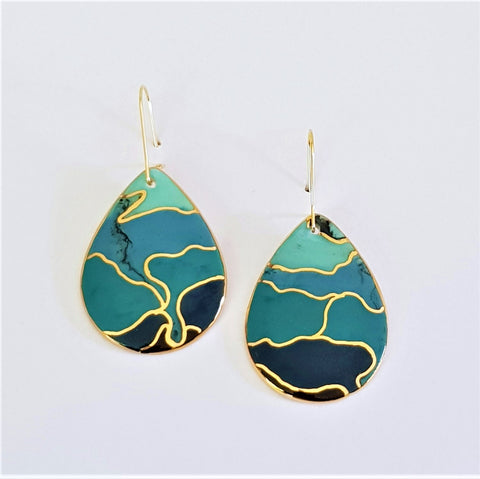 porcelain drop earrings in teals and blues with gold