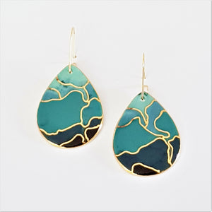 porcelain drop earrings in teals and blues with gold detailing