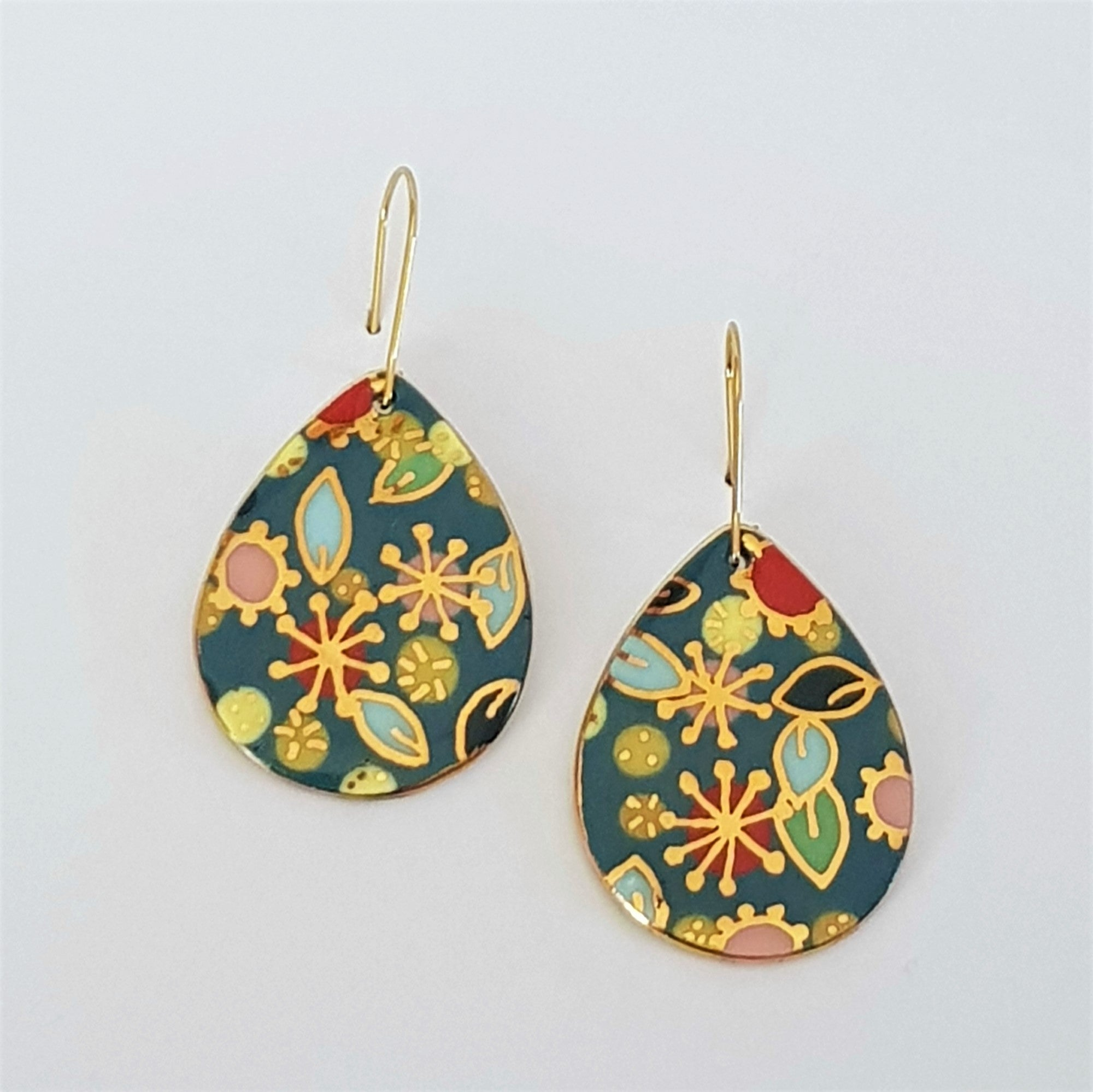 "Porcelain teal ""Straya"" drop earrings with gold floral design"