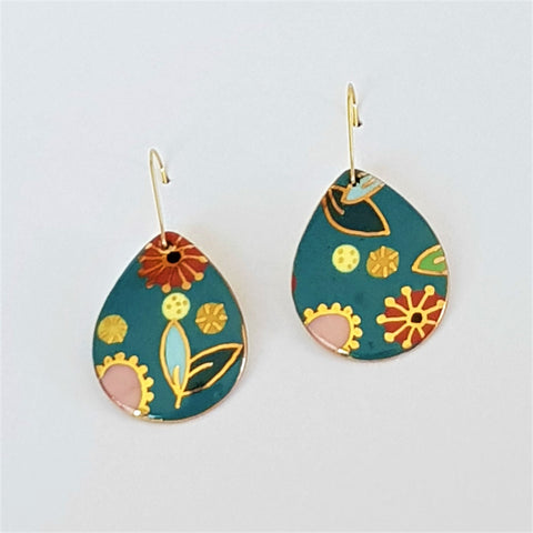 "Teal ""Straya"" drop earrings with gold floral design"