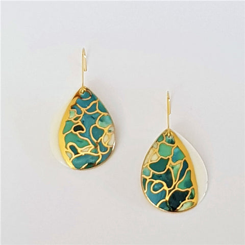 Porcelain teardrop earrings in oceanic hues with gold detailing