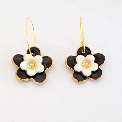 Floral Collective hoops in black and white