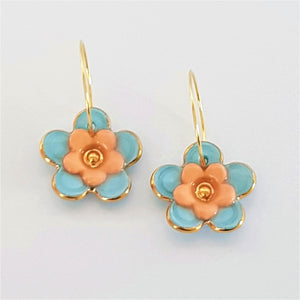 Floral Collective hoops in soft blue and mandarin