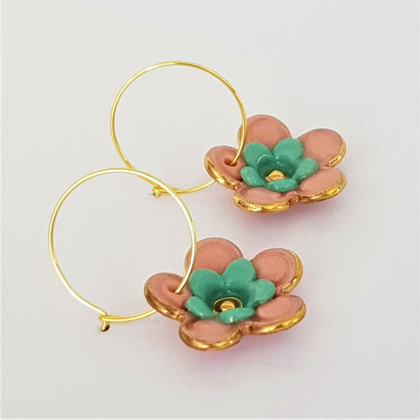 Floral Collective hoops in coral and teal