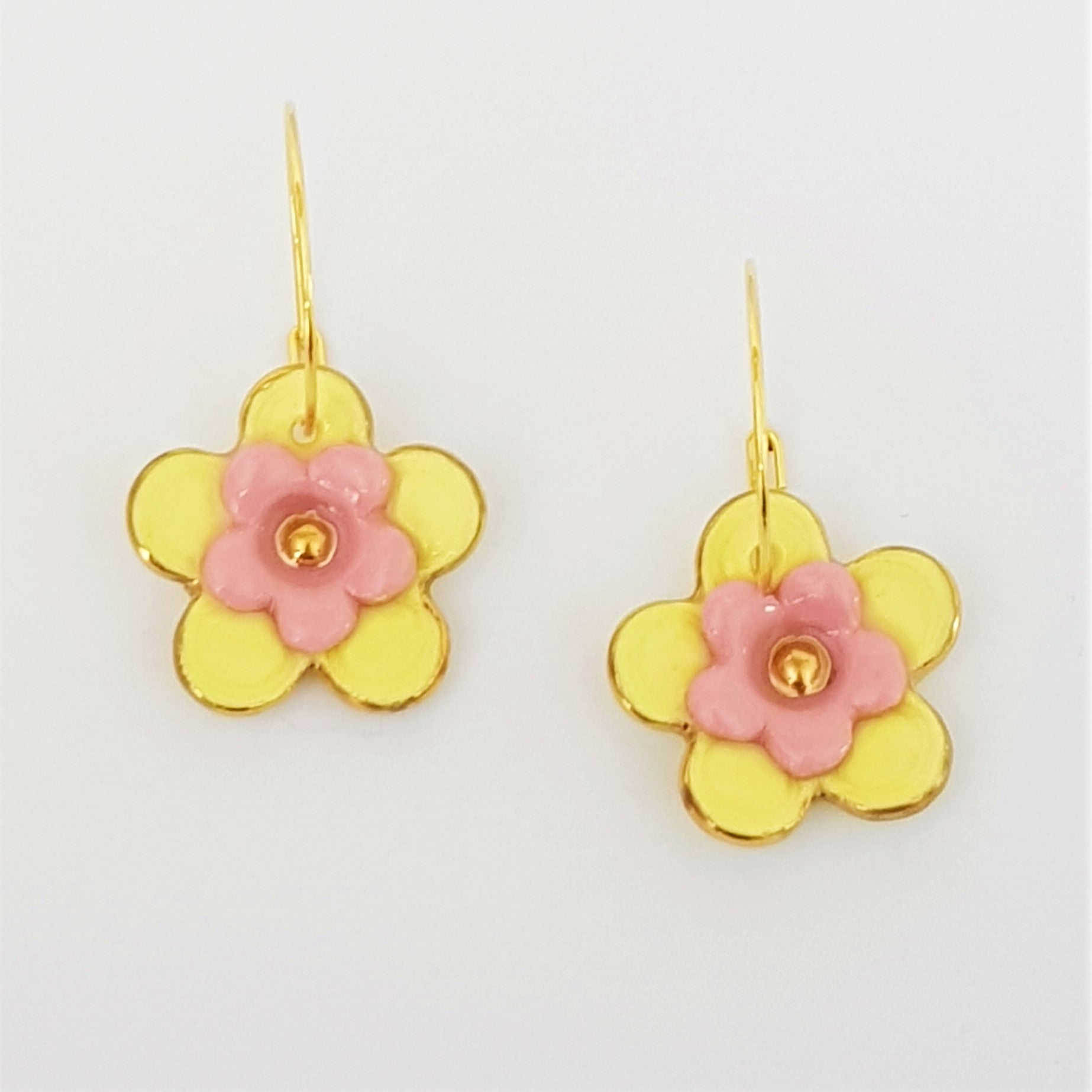 Floral Collective hoops in lemon and pink.