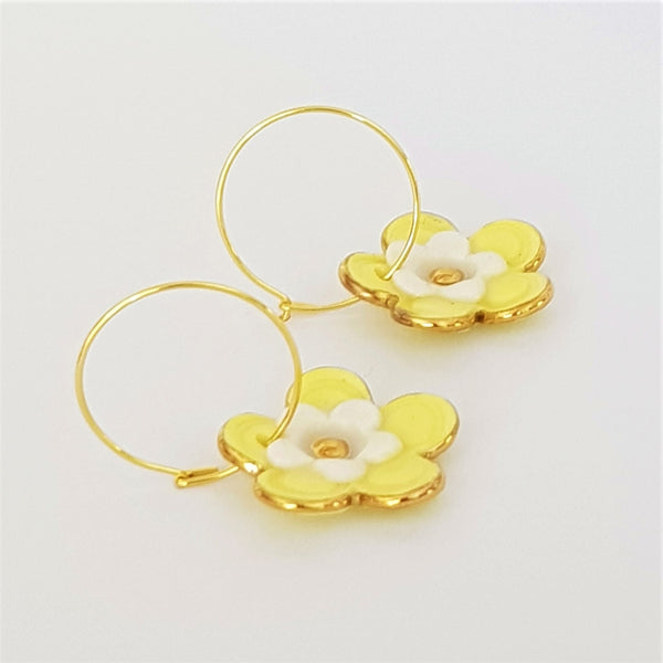 Floral Collective hoops in lemon and white.