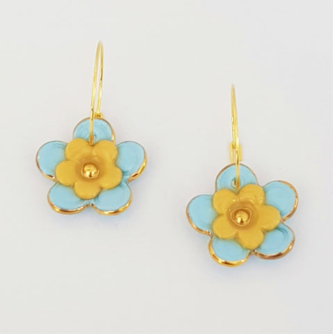 Floral Collective hoops in soft blue and mustard