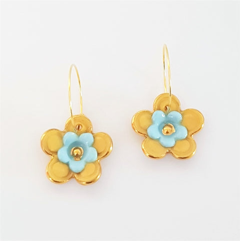 Floral Collective hoops in mustard and light blue