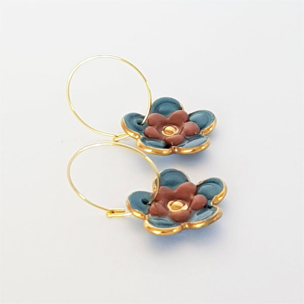 Floral Collective hoops in pine and rust