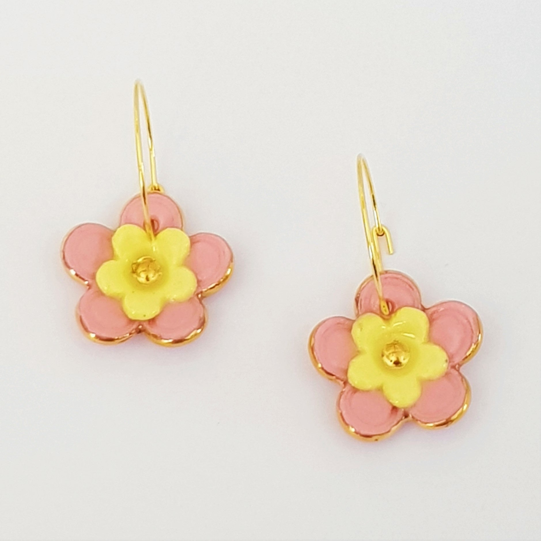 Floral Collective hoops in pink and lemon.