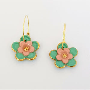 Floral Collective hoops in teal and coral
