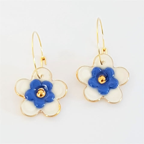 Floral Collective hoops in white and blue