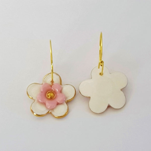 Floral Collective hoops in white and pink