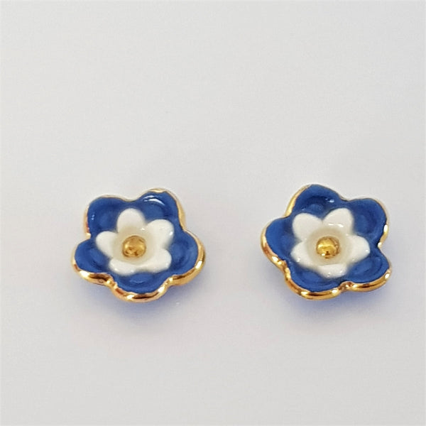 Floral collective studs in blue and white