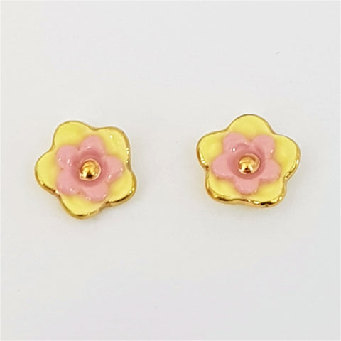 Floral collective studs in lemon and pink