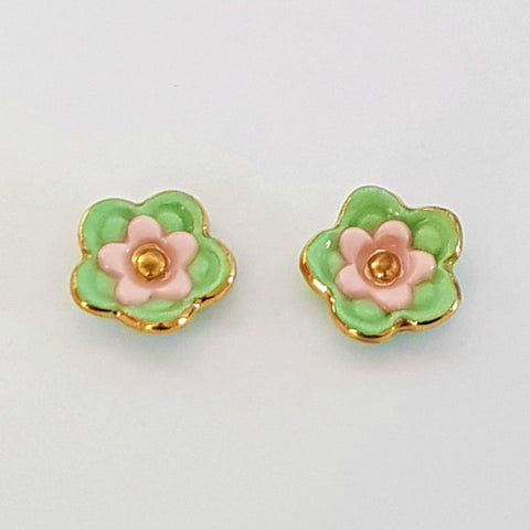 Floral collective studs in mint and pink