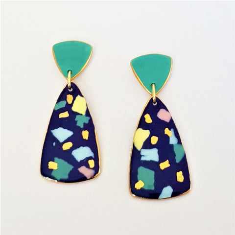 Porcelain double drop earrings with teal tops ,indigo terrazzo effect and gold.