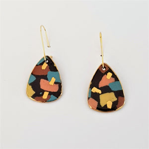 Mini dangles, black terrazzo style with gold.
