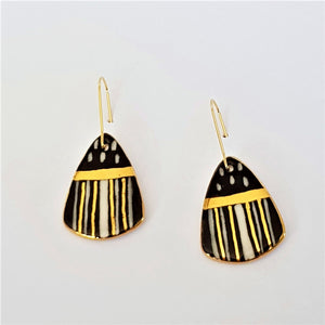 Black and white striped mini dangle earrings with gold