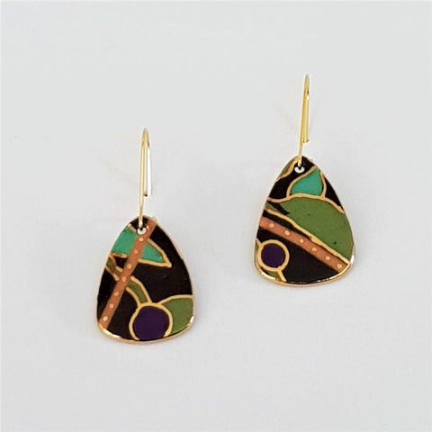 Black and olive mini dangle earrings with gold