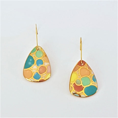 Bright pastel porcelain mini dangle earrings with gold linework