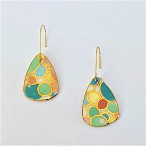 Bright pastel porcelain mini dangle earrings with 22kt gold linework