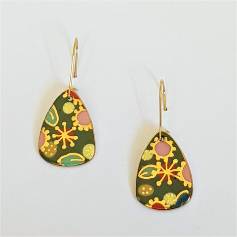 "Green ""Straya"" mini dangles with floral gold design"