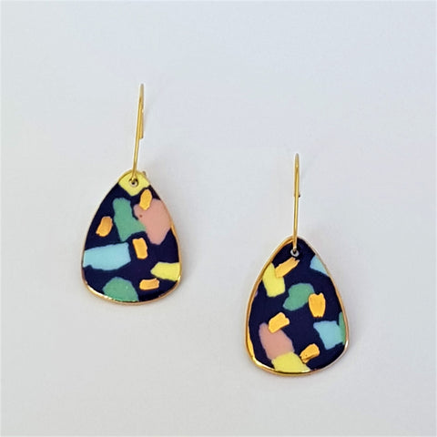 Indigo terrazzo effect porcelain mini dangle earrings
