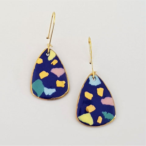 Mini dangles, indigo terrazzo style with gold.