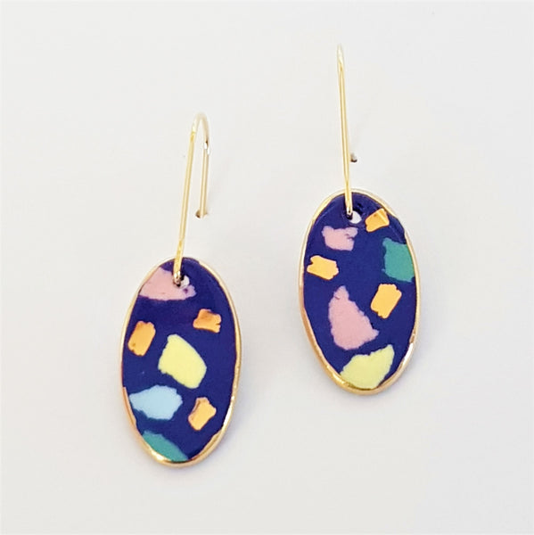 Oval mini dangles, indigo terrazzo with gold.