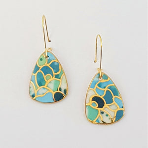 Mini dangles, ocean inspired blues and greens with gold.