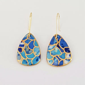 Mini dangles, mid blues with gold highlights and edging.