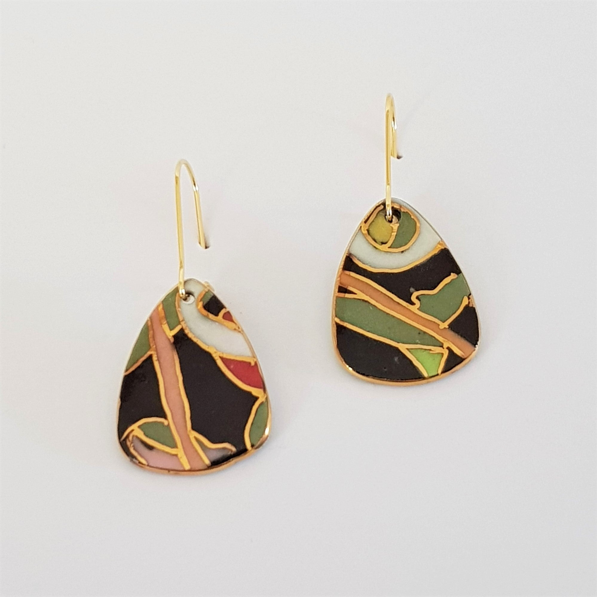 Mini dangles, black and olive abstract design with gold