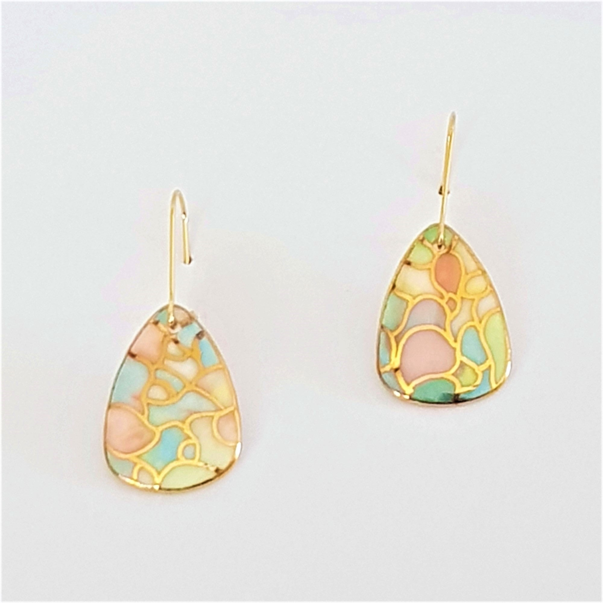 Porcelain mini dangle earrings in soft pastels with gold linework