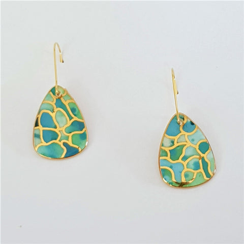 Porcelain mini dangle earrings in oceanic tones and gold linework