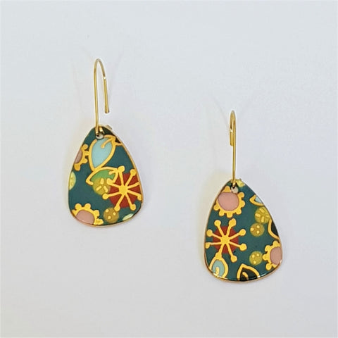 "Teal ""Straya"" mini dangle earrings with gold flower detail"