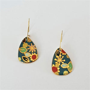 "Teal ""Straya"" mini dangle earrings with gold floral design"