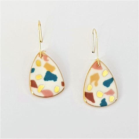 Mini dangles, white terrazzo style with gold.