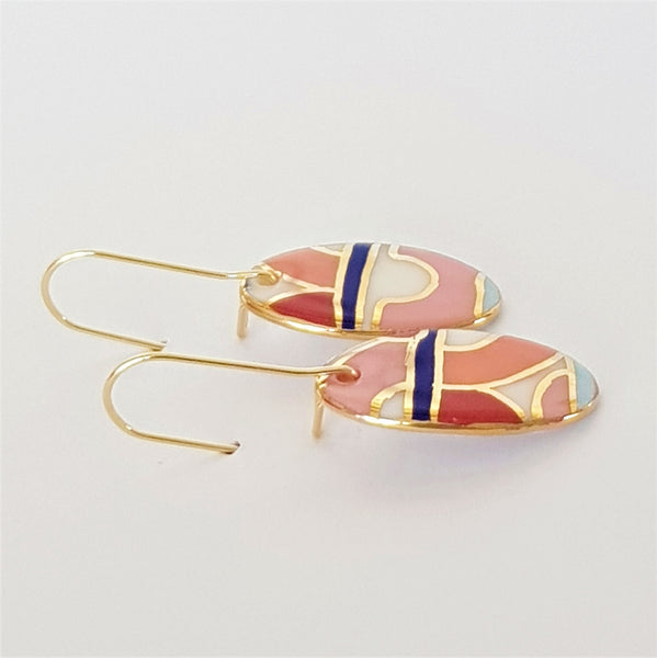 Oval mini dangles in red and pink with gold.
