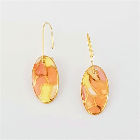 Oval mini dangles in orange, pink and lemon with gold.