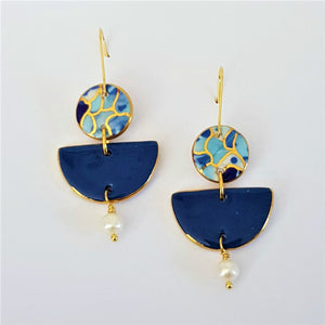 Pearl drop earrings in blue tones and denim blue with gold.
