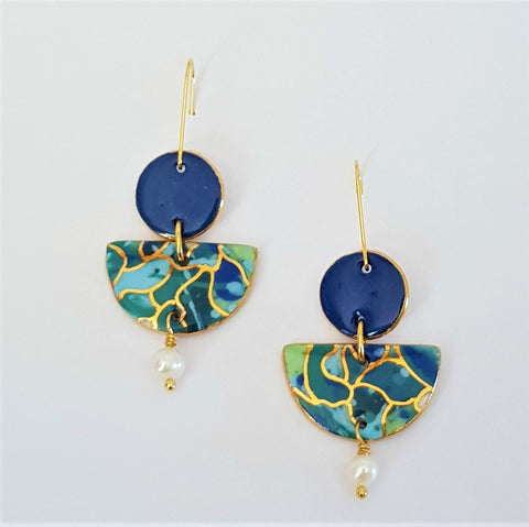Pearl drop earrings in oceanic tones and denim blue with gold.