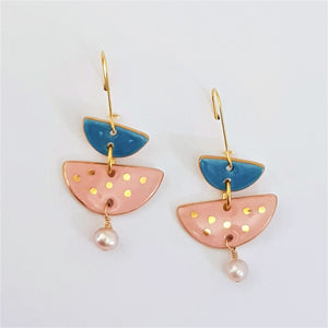 pearl and porcelain tiered earrings in pink and blue with gold edging and dots