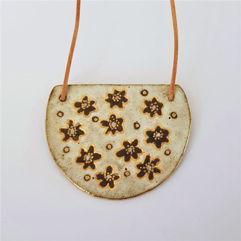 Half moon extra large pendant in earthy tones and matte gold with daisies